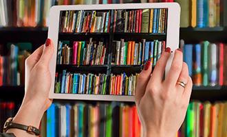 Digital Collections iPad and bookshelf