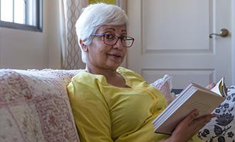Senior citizen reading
