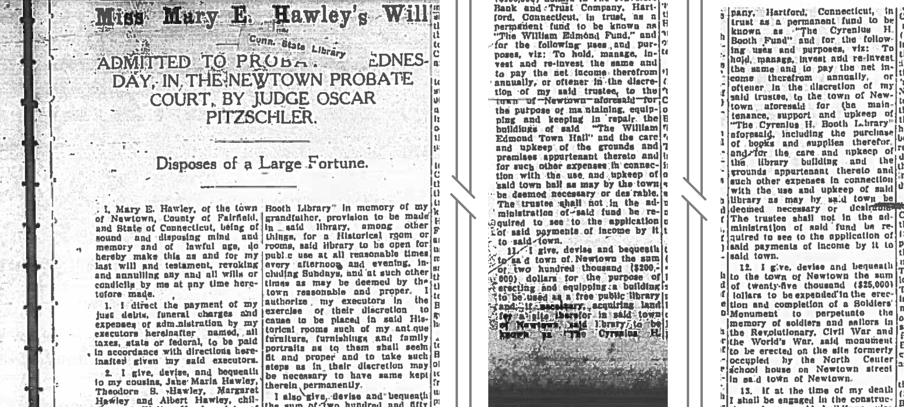 thumbnail showing scanned sections of Mary Hawley's will relevant to the library